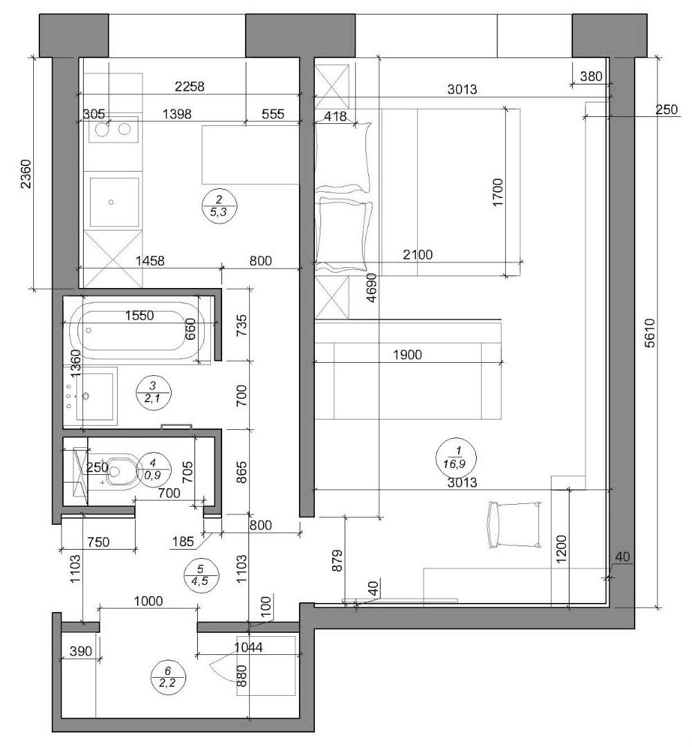 Перепланировка и ремонт однокомнатной квартиры