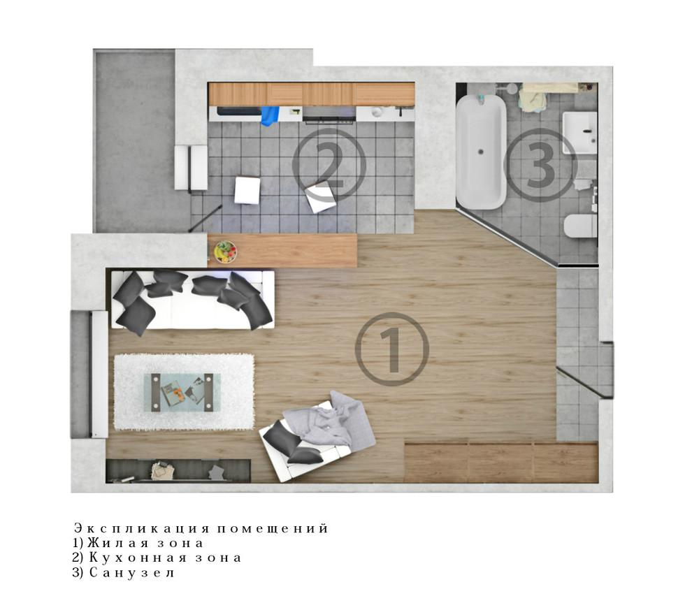 Однокомнатные студии дизайн фото