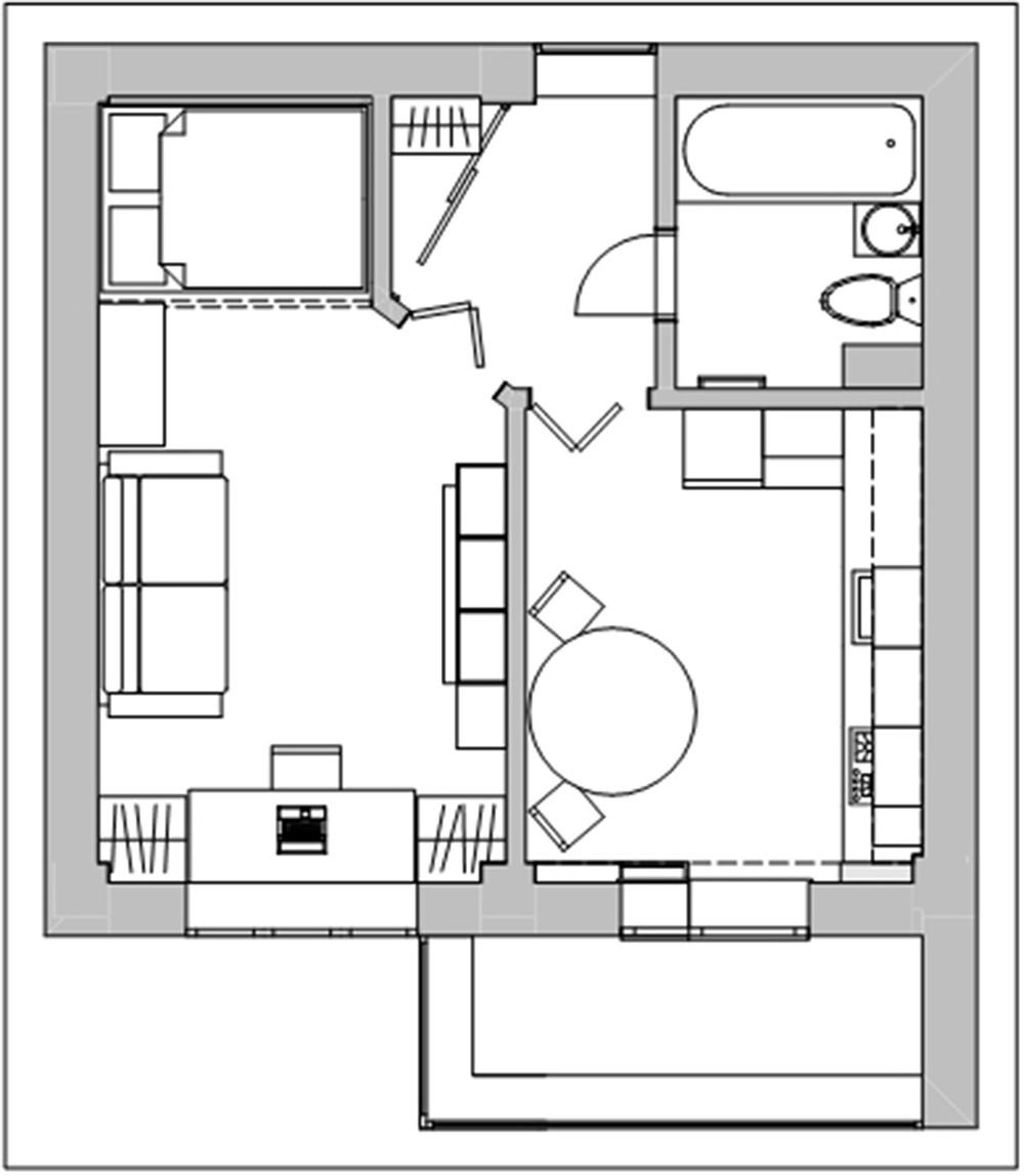 план однокомнатной квартиры схема