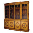 На фото: модель 37253 SBD Satinwood and marquetry Breakfront Bookcase от фабрики Restall  Brown & Clennell.