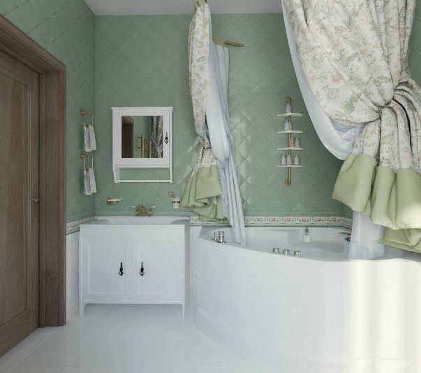 Дизайн кафельной плитки в ванной: Ванная комната. Фото углов в ванной комнате