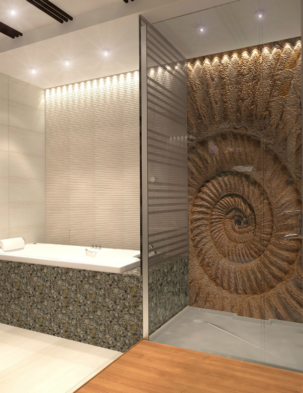 Ванная комната в яхте Душевая дверь в нишу Vegas Glass ZP 0135 05 05 профиль бронза, стекло бронза