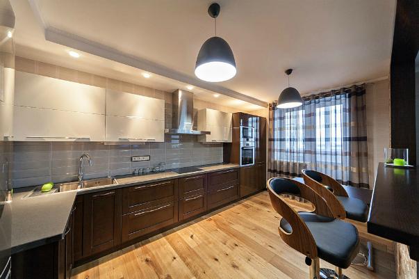 Фото дизайна кухни объединенного с залом 4
