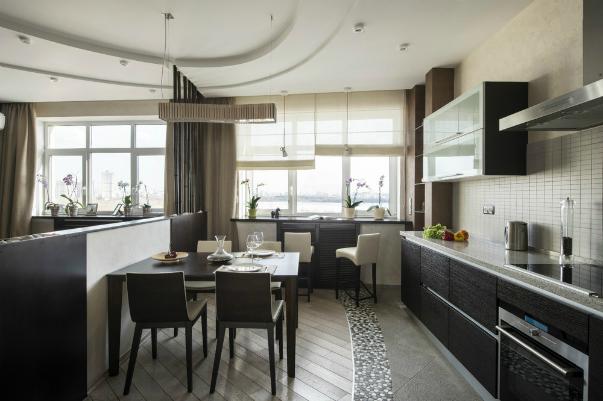 Дизайн совмещенной кухни со столовой
