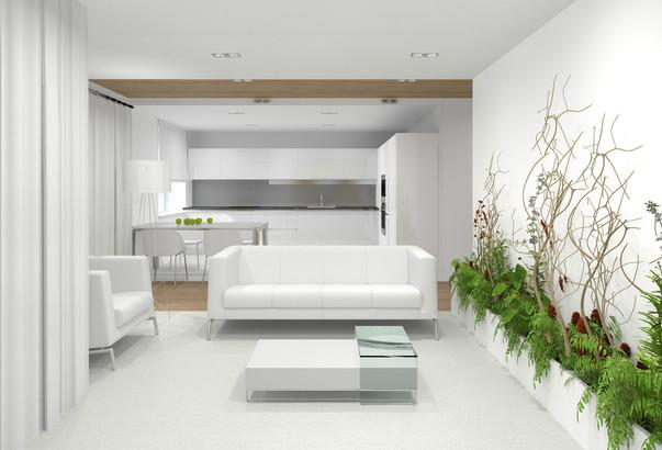 Дизайн гостиной белой