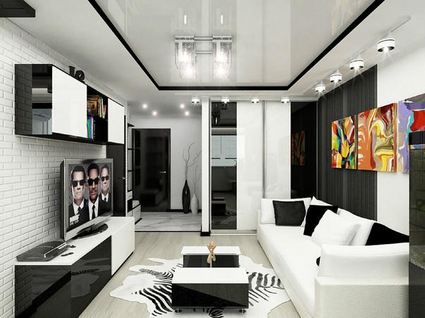 Современный дизайн проект квартиры студии 25 кв