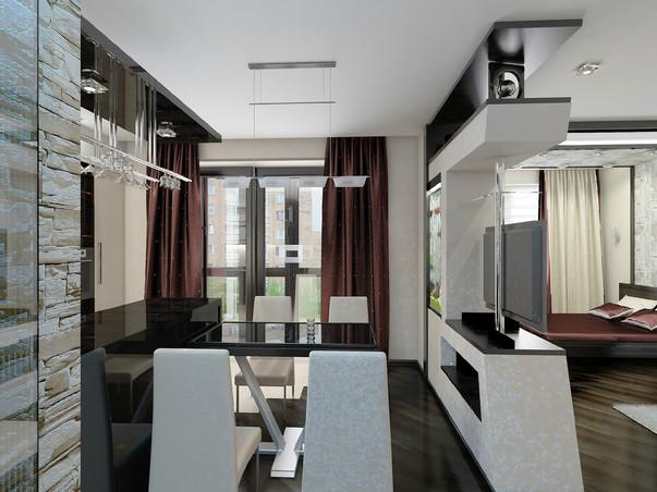 Дизайн однокомнатной квартиры с отдельной кухней
