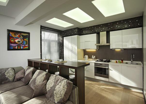 интерьер кухни в квартире студии