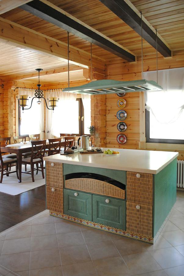 дизайн кухни в деревянном доме с фото