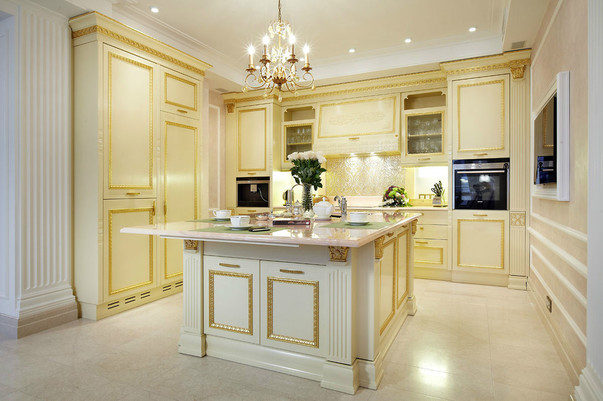 Дизайн проект кухни совмещенной с гостиной в бежевых тонах тонах 8