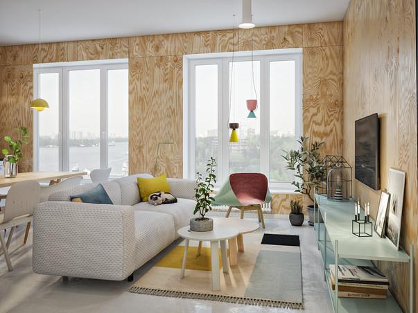 красочный интерьер в скандинавском стиле проект студии точка дизайна
