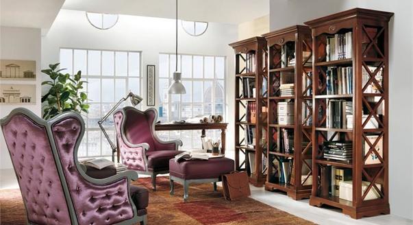 Библиотека и гостиная в одной комнате