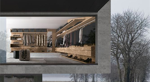 Конструкция и наполнение угловой гардеробной комнаты