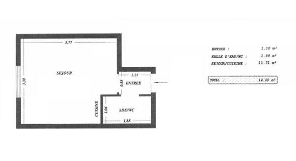 Фото очень маленьких квартир: Париж, студия 15 кв