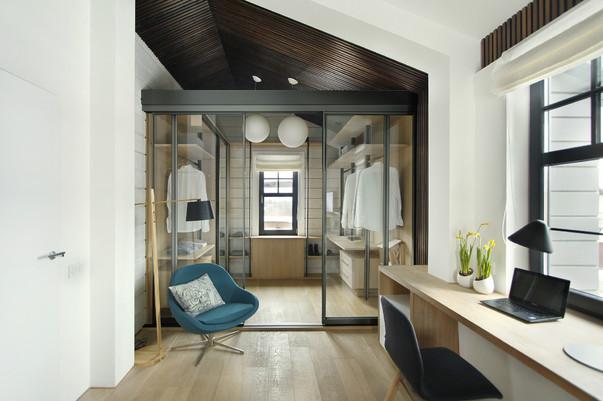 спальня гардеробная и кабинет в одной комнате фото