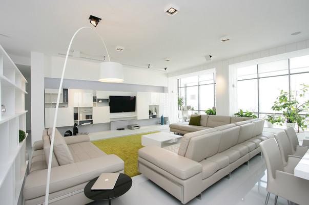 Зал в квартире в белом цвете фото