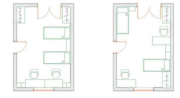 Расстановка мебели в прямоугольной детской комнате