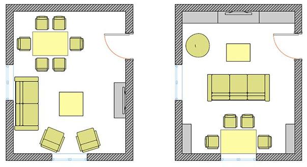 Схема квадратной комнаты