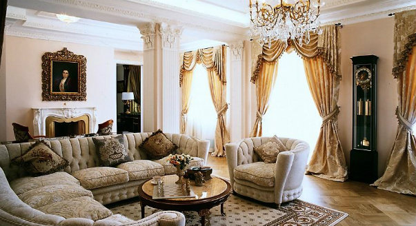 Асимметричные шторы для гостиной - фото