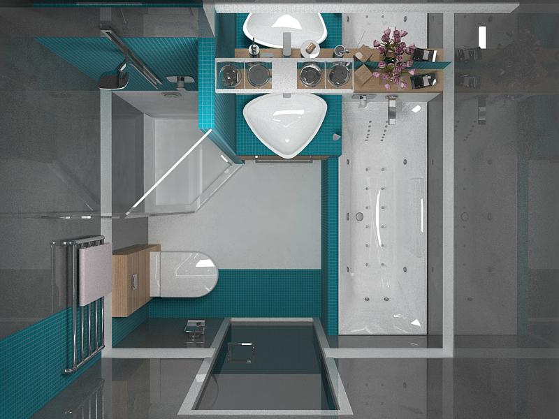 Дизайн ванной комнаты с туалетом с душевой кабиной