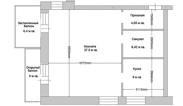 Перепланировка однокомнатной квартиры в Москве - цены