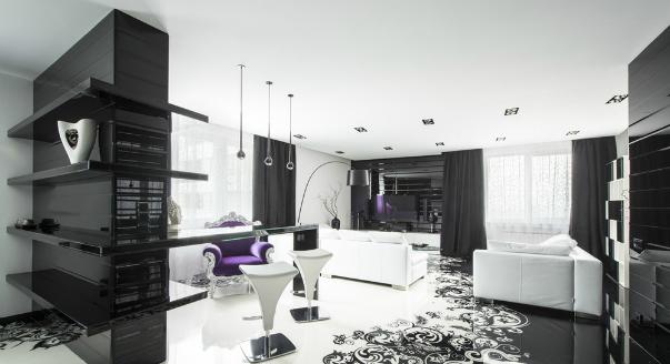 фото интерьера черно белой гостиной