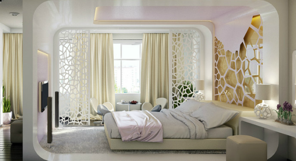 Дизайн спальня с балконом
