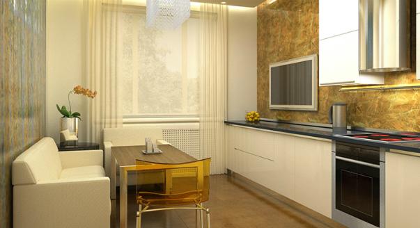 дизайн потолков в кухне студии фото