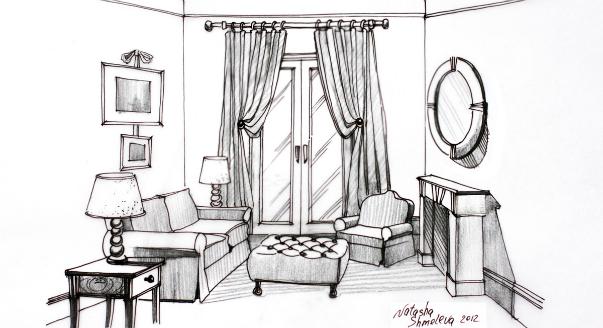 Необычный интерьер комнаты - стандартной гостиной 18 кв