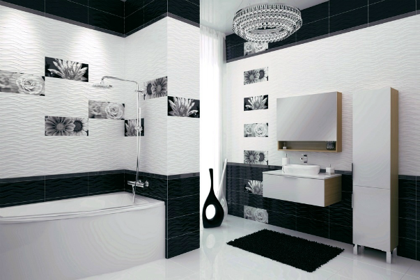 Ванная комната дизайн плитка черно белая