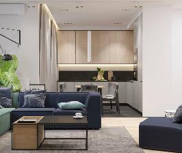 Дизайн-проект студии Geometrium в современном стиле для семьи с двумя детьми
