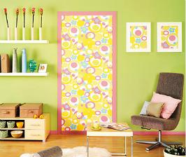 Дверь, декорированная тканью