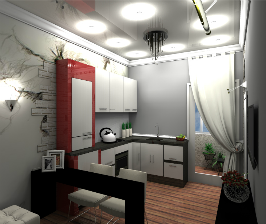 Нестандартная кухня с балконом