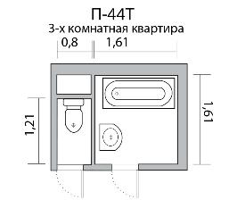 7 проектов санузла в двушке и трешке дома серии П-44Т