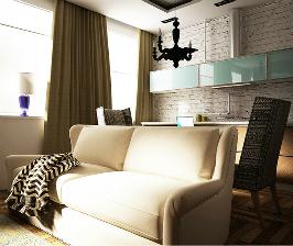 Однушка с изолированной спальной комнатой и кухней-гостиной: проект Екатерины Кажкеновой