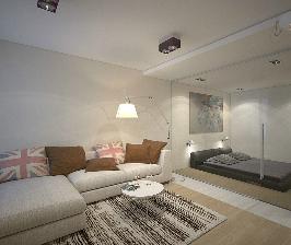 Из однушки — студия с выделенной спальной зоной: дизайнер Олег Кургаев