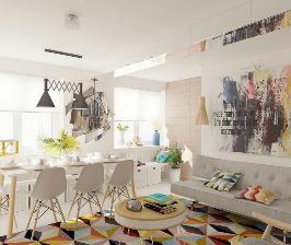 Четырехкомнатная квартира с красочной общественной зоной: проект Маргариты Рассказовой