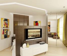1-комнатная квартира со спальной зоной в гостиной: проект бюро дизайна и архитектуры «New Interior»