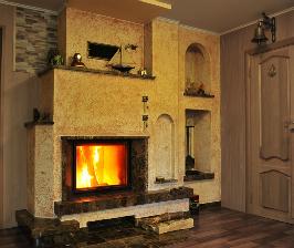 Устройство теплоаккумулирующего камина из шамота