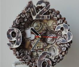 Декупаж: настольные часы «КОФЕ»