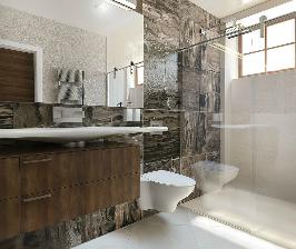 Просторная ванная комната в камне: проект дизайнера Юлии Хохловой