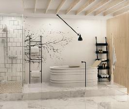 Поляна отшельника в загадочном лесу — проект ванной комнаты Алены Юдиной