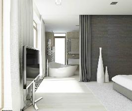 Невесомость. Объединенные ванная и спальня: проект Анны Шемуратовой
