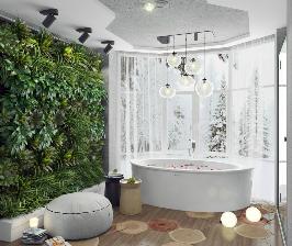 Эко-ванная комната для романтического отдыха вдвоем: дизайнер Татьяна Козырина