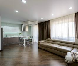Кухня с гостиной: дизайнер Ольга Симагина