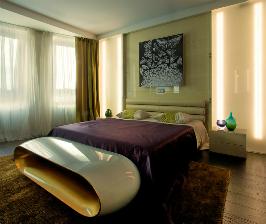 Золотая спальня со световыми панелями и футуристической тумбой: дизайнер  Алексей Денисов
