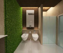 Минималистичная ванная комната с фитостеной для небольшой семьи: дизайнер Ольга Лагодная