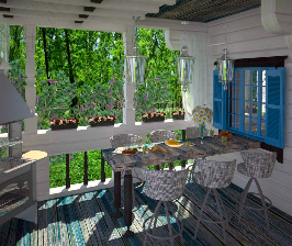 Терраса в загородном доме в Подмосковье: дизайнер Ольга Филиппова