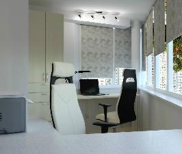 Как превратить маленькую лоджию в офис для двоих