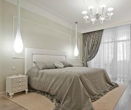 Дизайн светлой спальни в серых тонах: проект Андрея Ексарева и Юлии Нагорной-Ексаревой